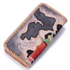 Handmade Leather Mens Clutch Wallet Cool Carp Tooled Wallet Long Zipper Wallets for Men