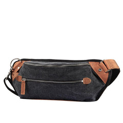Black Canvas Leather Fanny Pack Men's Chest Bag Sling Hip Bag Canvas Waist Bag For Men
