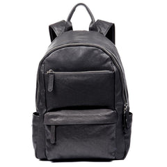 Fashion Black Mens Leather 13-inch Computer Backpack Black Travel Backpack School Backpack for men