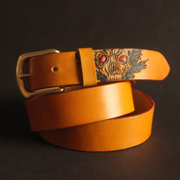 Cool Handmade Yellow Brown Skull Tooled Leather Mens Belt Carved Leather Belt for Men