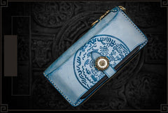 Handmade Leather Tooled Tibetan Mens Chain Biker Wallet Cool Leather Wallet Long Phone Wallets for Men