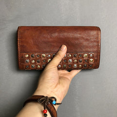 Handmade Genuine Leather Mens Clutch Cool Fashion Wallet Clutch Wristlet Wallet for Men
