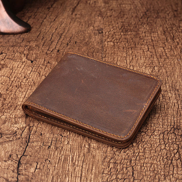 Simple Vintage Mens Leather Small Wallet Bifold Short Wallet for Men