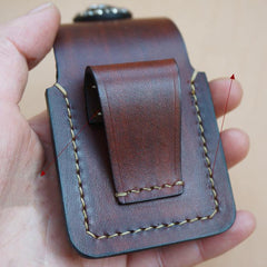 Handmade Coffee Leather Mens Armor Zippo Lighter Case Zippo Lighter Holder with Belt Loop for Men