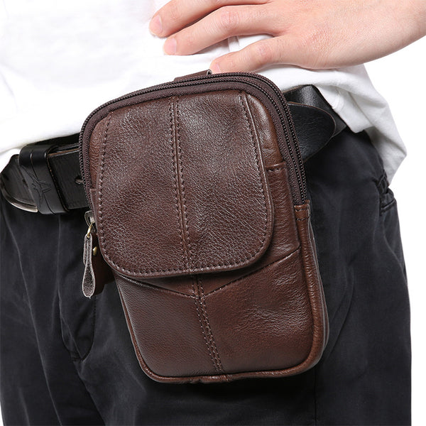 Vintage Brown Leather Men's Belt Pouch Cell Phone Holster Mini Side Bag For Men