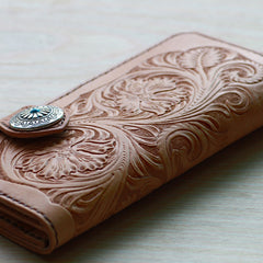 Handmade Mens Tooled Floral Beige Leather Long Biker Wallet Cool Long Chain Wallet for Men