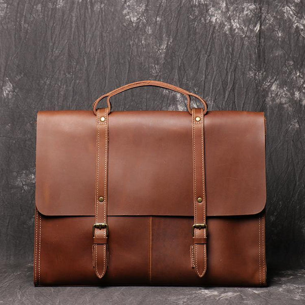 Casual Leather Men's Brown Professional Briefcase 15'' Laptop Handbag Business Bag For Men