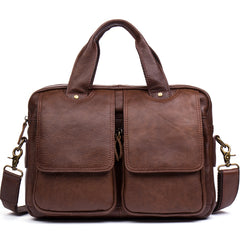 Tan Leather Mens 13 inches Briefcase Laptop Bag Coffee Business Bags Work Side Bag for Men
