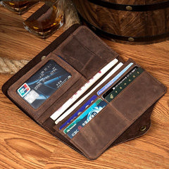Brown Cool Mens long Wallet Wristlet Bags Clutch Bags Bifold Long Wallet Hand Bag for Men