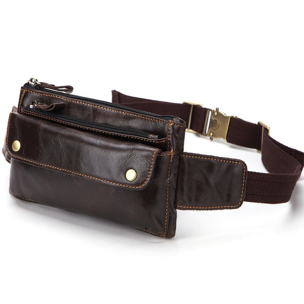 Cool Brown LEATHER MENS FANNY PACK FOR MEN BUMBAG Vintage WAIST BAGS