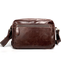 Casual Black Leather Mens Small Courier Bags Messenger Bag Brown Postman Bags For Men