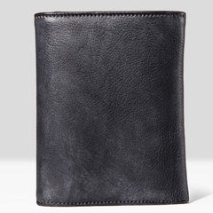 Handmade Mens Cool billfold Leather Wallet Men Small Slim Wallets Trifold for Men