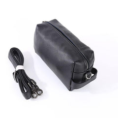 Handmade Black Leather Mens Clutch Cool Hand Bag Zipper Clutch Wristlet Clutch for Men