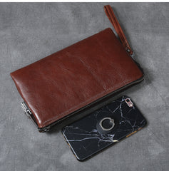 Black Leather Mens Brown Business Long Wallet Clutch Bag Wristlet Wallet For Men