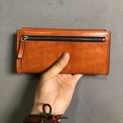 Handmade Leather Mens Cool Wallet Long Leather Wallet Clutch Wristlet Wallet for Men Women