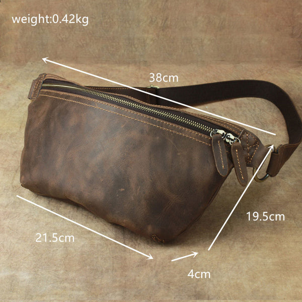 Cool LEATHER MENS FANNY PACK FOR MEN BUMBAG Vintage WAIST BAG for Men