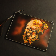 Cool Handmade Tooled Leather Floral Skull Clutch Wallet Wristlet Bag Clutch Purse For Men