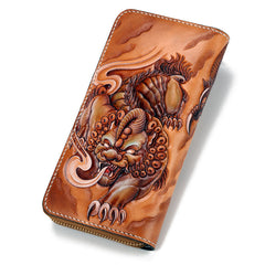 Handmade Leather Tooled Chinese Dragon Tiger Mens Chain Biker Wallet Cool Leather Wallet Zipper Long Phone Wallets for Men