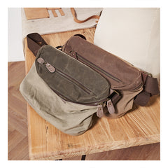 Cool Canvas Mens Messenger Bag Canvas Side Bag Chest Bag Saddle Canvas Courier Bag for Men