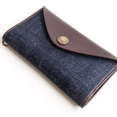 Genuine Leather Jean Mens Cool Long Leather Wallet Men Cards Wallets Bifold for Men