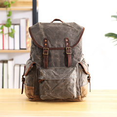 Waxed Canvas Leather Mens Army Green 15'' Large Backpack Travel Backpack College Backpack for Men