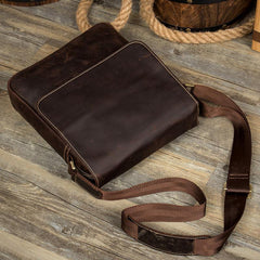 Dark Brown Cool Leather 10 inches Small Vertical Side Bags Messenger Bags Courier Bag for Men