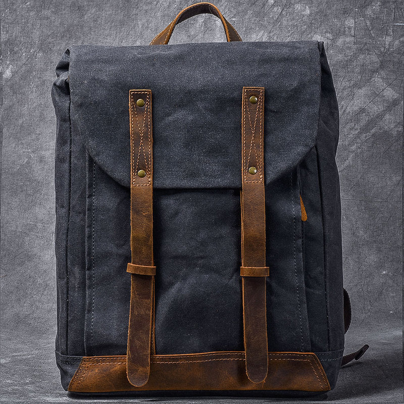 "Waxed Canvas Leather Mens 15"" Gray Computer Backpack Brown Travel Backpack College Backpack for Men"
