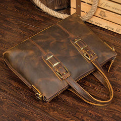 Vintage Brown Leather Mens 15 inches Briefcase Laptop Bag Business Bags Work Bags for Men