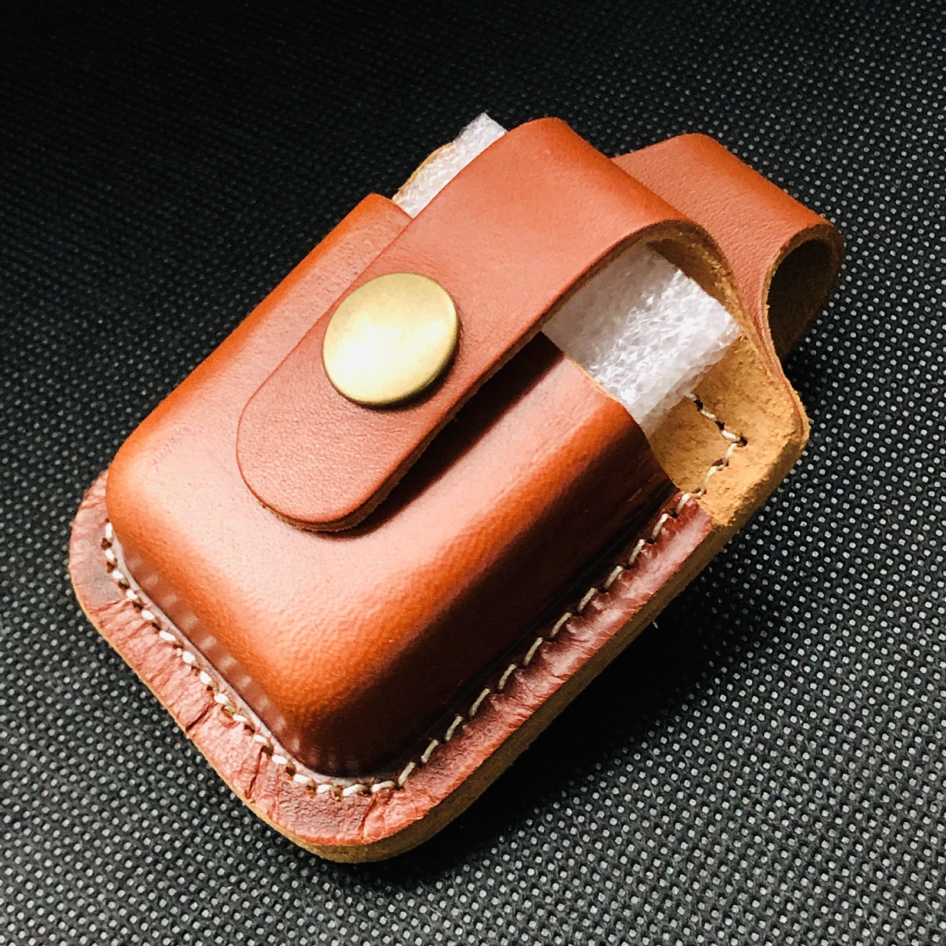 Light Brown Handmade Leather Mens Black Zippo Lighter Holder Lighter Case For Men