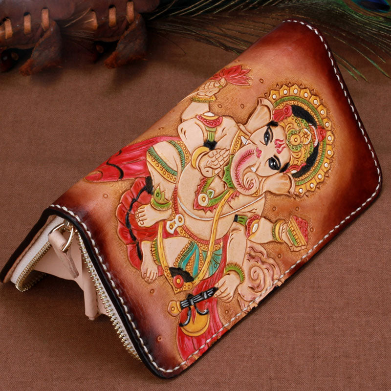 Handmade Leather Mens Clutch Wallet Cool Ganesha Tooled Wallet Long Zipper Wallets for Men