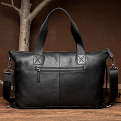 Black Leather Mens 15 inches Briefcase Laptop Bags Business Handbag Work Bag for Men