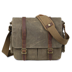 Canvas Leather Mens Waterproof 14'' Green CANON CAMERA Khaki Messenger Bag NIKON CAMERA Side BAG Gray DSLR CAMERA BAG