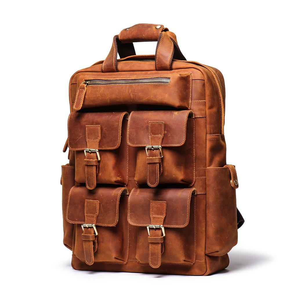 "Cool Brown Mens Leather Dark Brown 15"" Backpack Travel Backpack College Backpack Computer Backpack for Men"