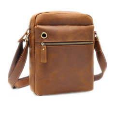 Casual Dark Coffee Leather Messenger Bag Men's 8 inches Side Bag Vertical Phone Bag Courier Bag For Men