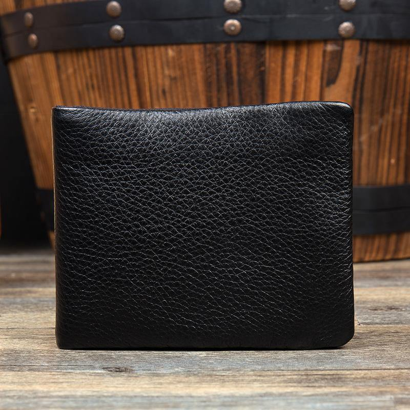 Dark Brown Cool Leather Mens Bifold Thin Front Pocket Short Wallet Black Slim Small Wallet for Men