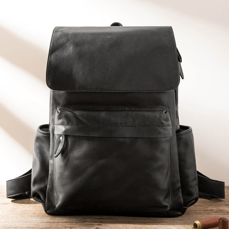 Black Leather Men's 15 inches Large Computer Backpack Gray Large Travel Backpack Black Large College Backpack For Men