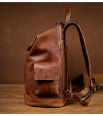 Cool Brown Mens Leather 15-inch Computer Backpacks Fashion Travel Backpacks School Backpack for men