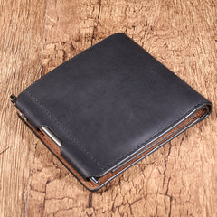 Leather Mens Black Small billfold Wallet Bifold Business Card Wallet For Men with Pen