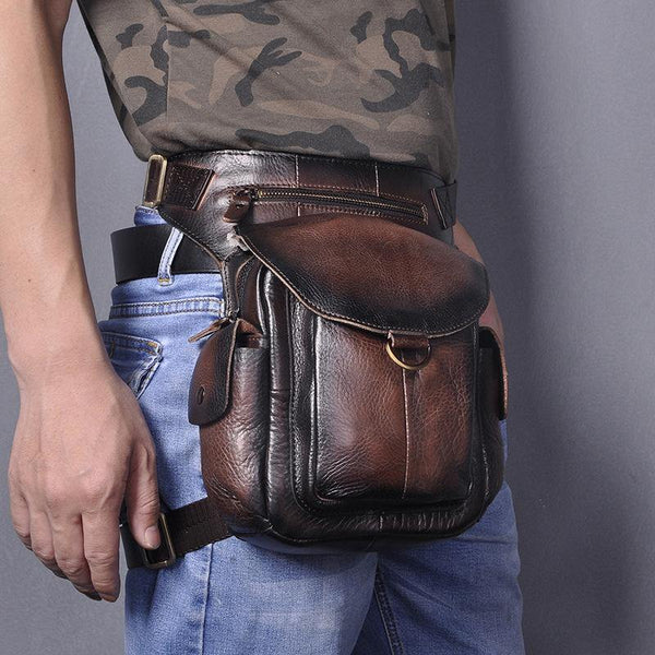 Coffee Leather Men Belt Pouch Vintage Drop Leg Bag Biker Purse Side Belt Bag for Men