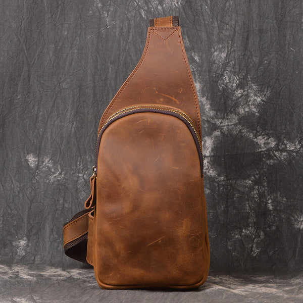 Vintage Brown Leather Men's Chest Bag One Shoulder Backpack Sling Bag For Men