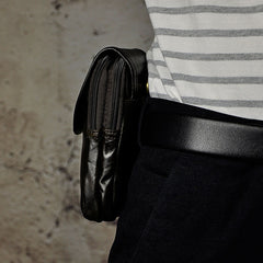 Small Mens Leather Belt Pouch Side Bag Holster Belt Case Waist Pouch for Men