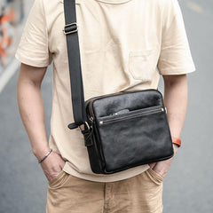Black Leather Mens 10 inches Courier Bag Messenger Bag Black Small Postman Bag For Men