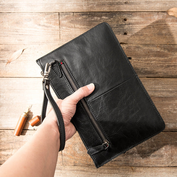 Black Cool Leather Mens Wristlet Bag Long Zipper Clutch Wallet Long Wallet Envelope Bag for Men