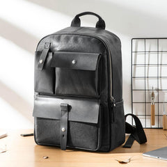 Casual Black Mens Leather School Backpacks Travel Backpacks 14-inch Laptop Backpack for men