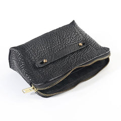 Cool Leather Mens Clutch Cool Black Wirst Purse Zipper Clutch Black Wristlet Wallet for Men