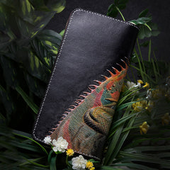 Handmade Leather Chameleon Mens Chain Zipper Biker Wallet Cool Leather Wallet Long Phone Wallets for Men