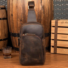 Dark Brown Leather Mens Cool Sling Bags Brown Crossbody Pack Chest Bag One Shoulder Backpack for men