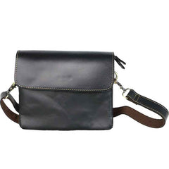 Black Leather Mens Cool Small Courier Bags Messenger Bags Amber Brown Postman Bag For Men