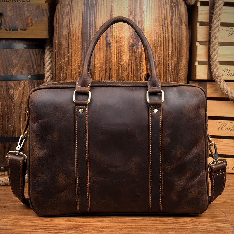 Brown Leather Mens 14 inches Briefcase Laptop Bag Navy Business Bags Work Bag for Men