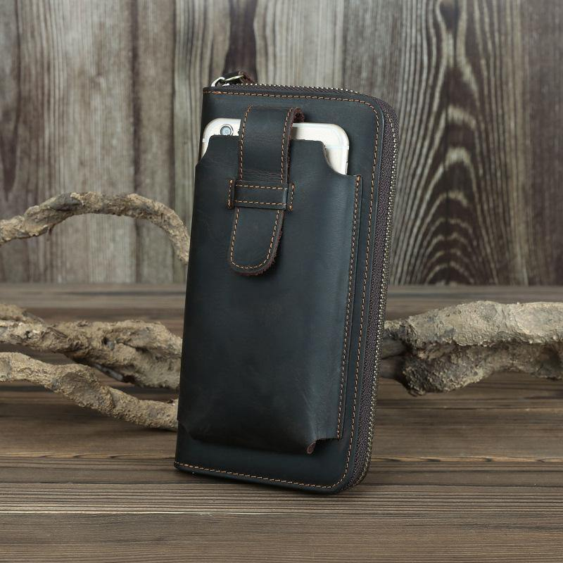 Brown Vintage Leather Long Wallet for Men Bifold Black COffee Phone Clutch Wallet For Men
